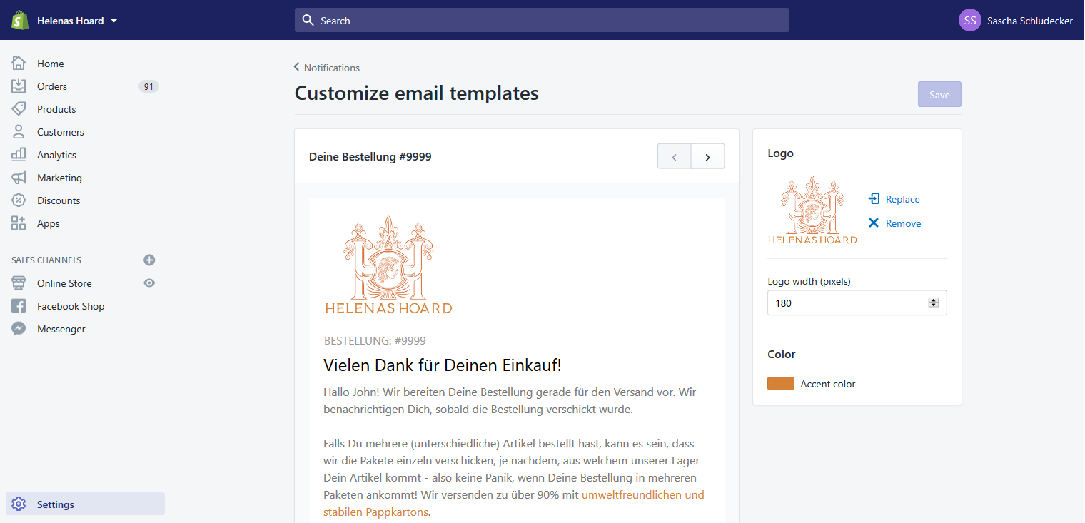 E-Mail-Template-Editor in einem Shopsystem
