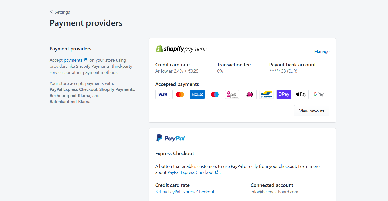 Shopify Payments-Übersicht